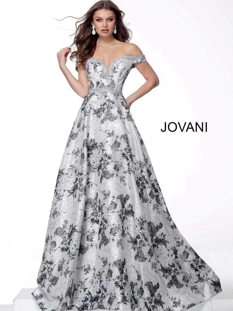 Photo of Jovani 67218 Off Shoulder Floral Evening Dress