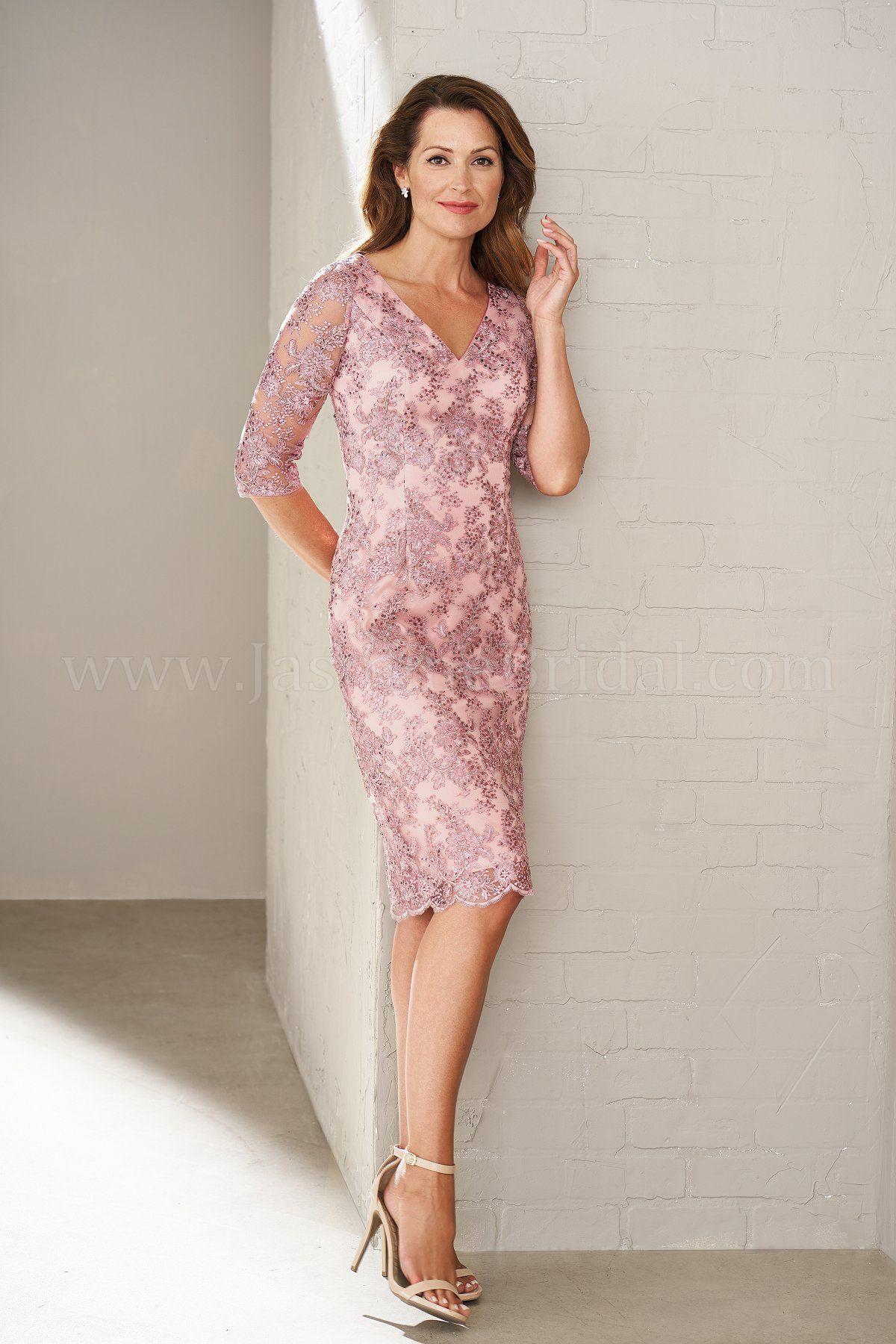 Jasmine Bridal Black Label Style M200009 In Rose Quartz Chelsea Lace Stretch Lining V Neckline 3 4 Sleeves Scalloped Skirt