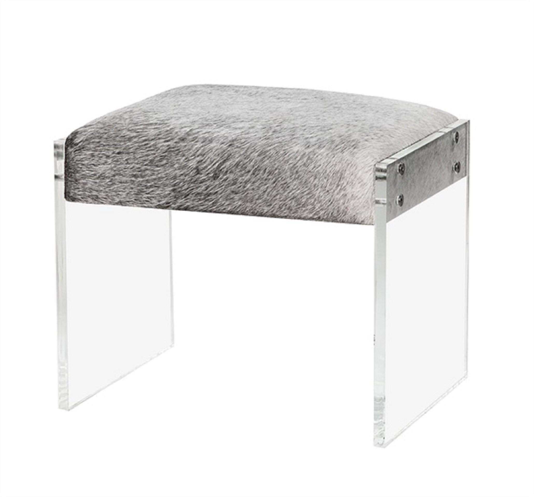 Acrylic And Natural Hide Stool In Grey Furniture Creative Furniture Home Furniture