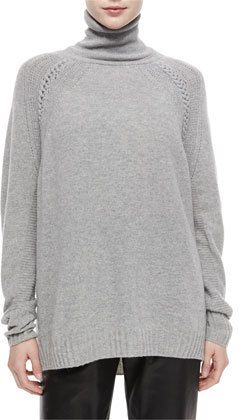 Turtleneck Oversized Cashmere-Blend Tunic Sweater. This is a great ...