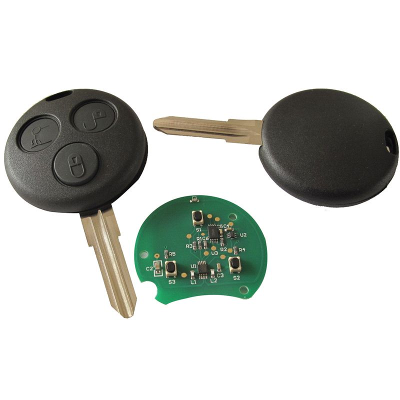 Smart Car Key Replacement >> 3 Buttons Black Replacement Remote Auto Key With Battery And