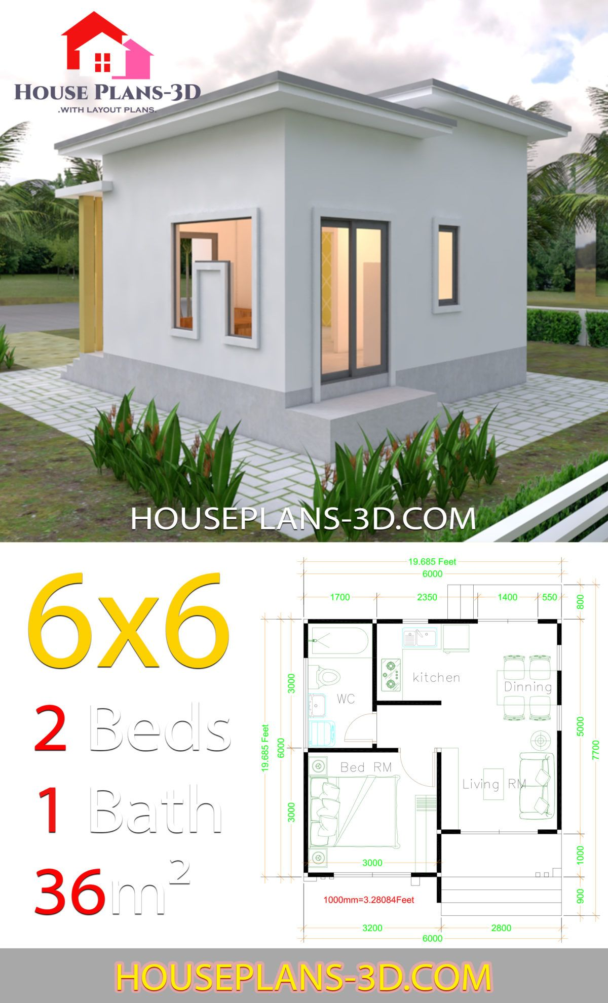 House Plans 6x6 With One Bedrooms Flat Roof House Plans 3d In 2020 Flat Roof House Small Modern House Plans House Roof
