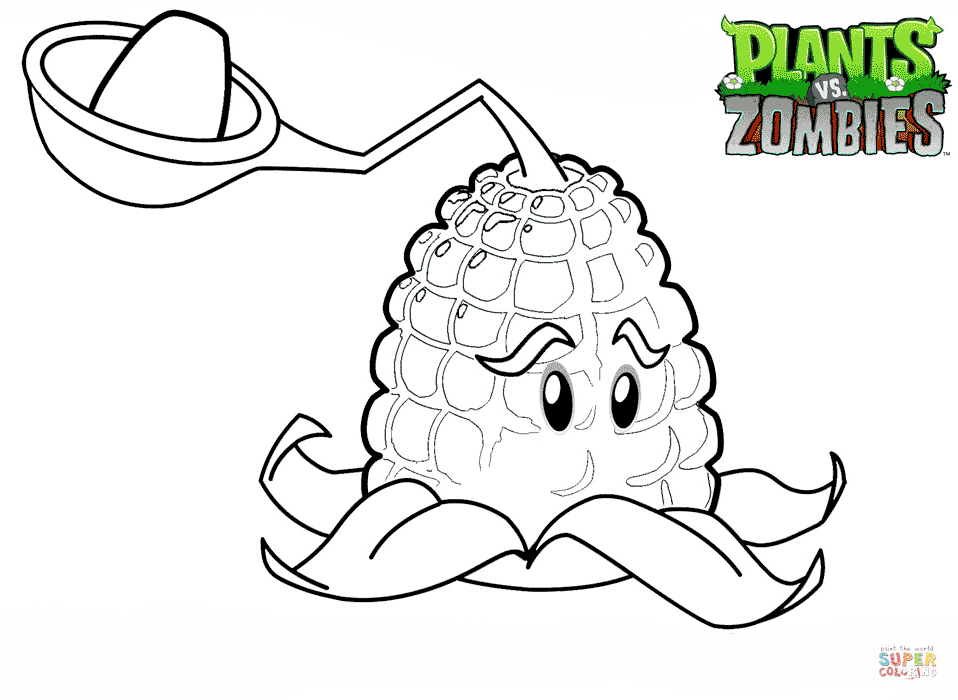 Plants Vs Zombies Kernel Pult Coloring Page Free Printable Coloring Pages Plants Vs Zombies Birthday Party Plant Zombie Plants Vs Zombies