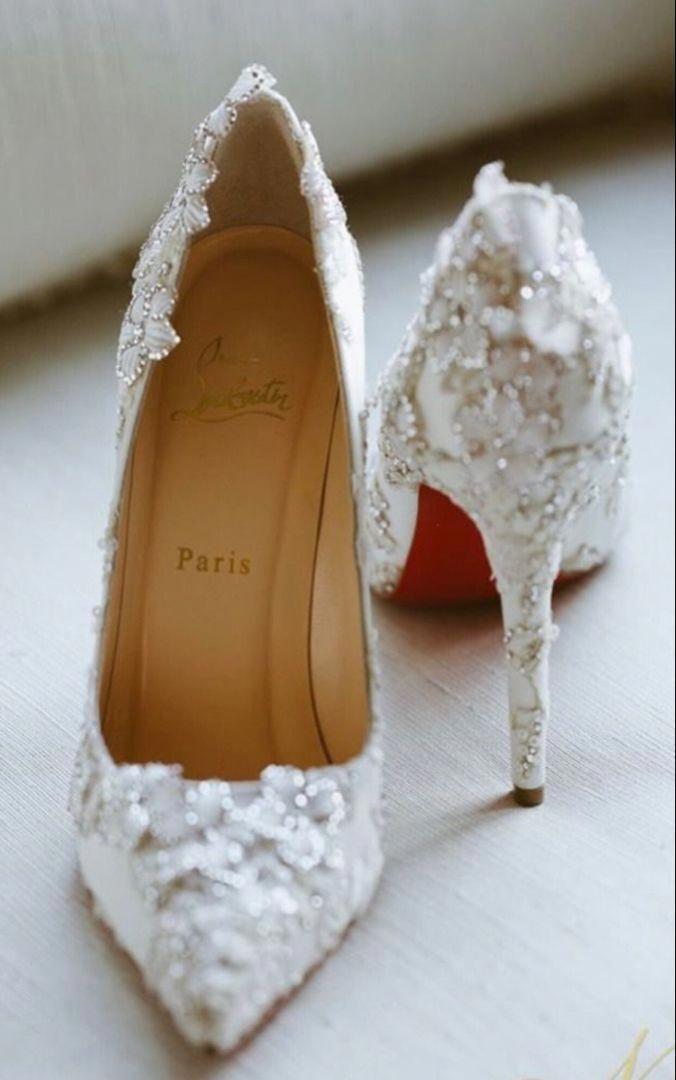 Christian Louboutin White Heels Wedding Shoes Bridal Shoes Heels