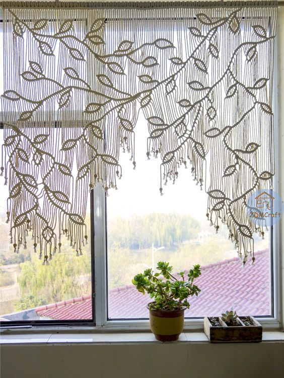 Customizable Macrame Curtain, Sliding Window Curta