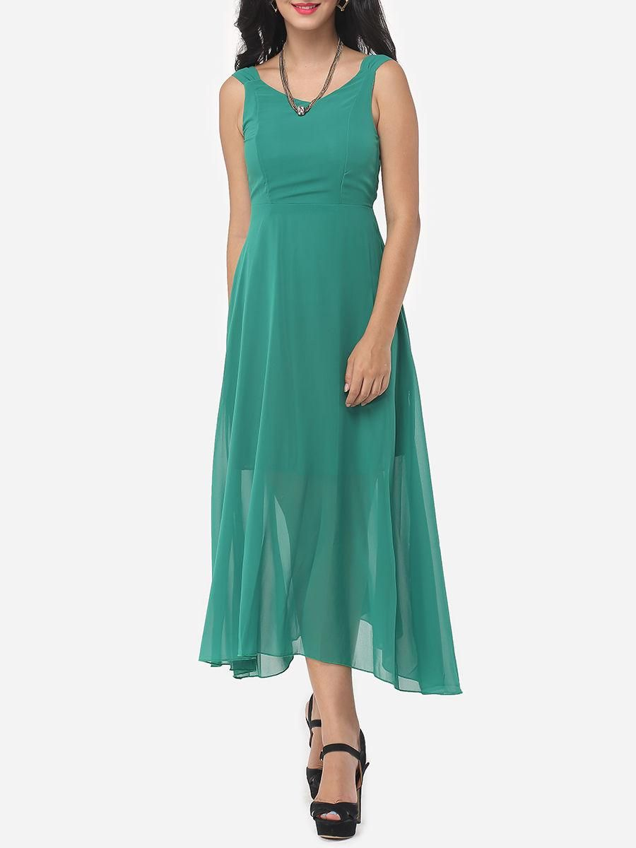 Fashionmia - #Fashionmia Plain Brilliant V Neck Backless Maxi-dress ...