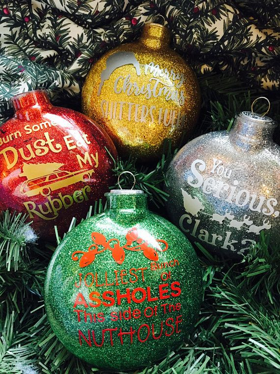 national lampoons christmas vacation glitter ornaments funny - National Lampoons Christmas Decorations