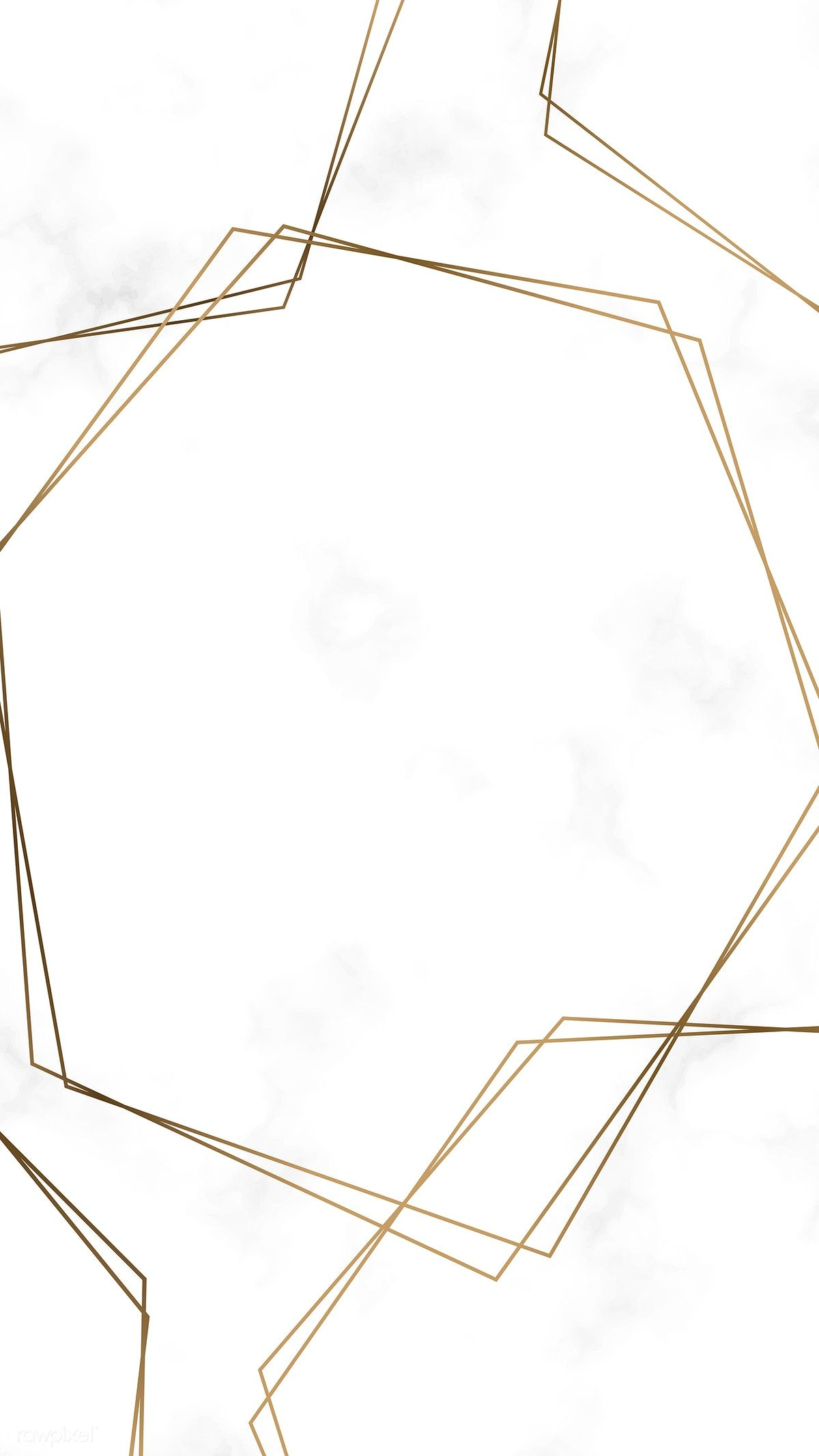 Download premium vector of Golden hexagon frame template vector 637091