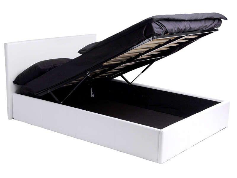 Lit Coffre 160x200 Cm Skon Coloris Blanc Vente De Lit
