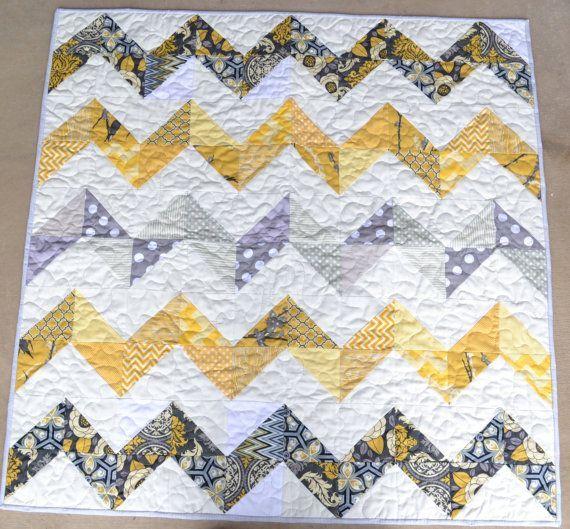 Items Similar To Chevron Baby Quilt Grey Yellow White