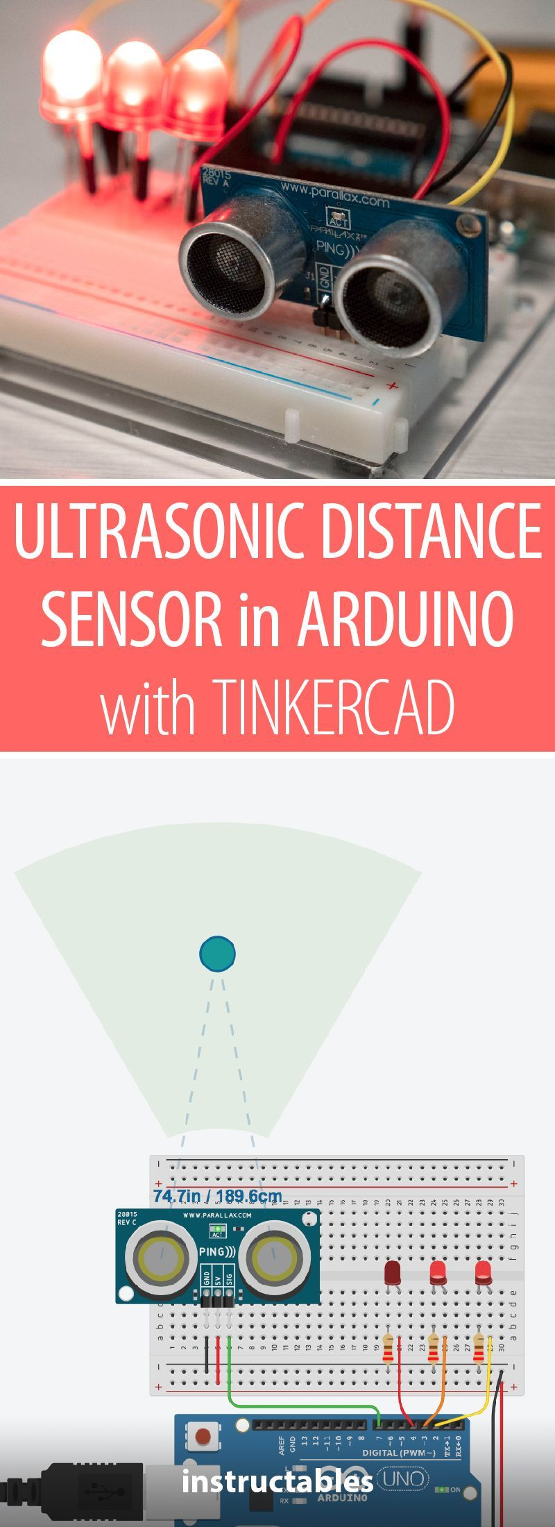 Ultrasonic Distance Sensor In Arduino With Tinkercad Proximity Circuit Measure Distances An Rangefinder And Arduinos Digital Input Connect Up A Using Breadboard Use Some Simple