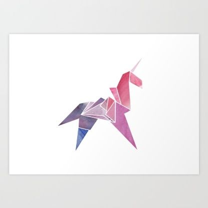 Watercolor Unicorn Art Print by Lucy Lia | Society6