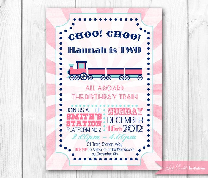 Pink Train Birthday Invitation Girl Party DIY Printable Invite 1400 Via Etsy