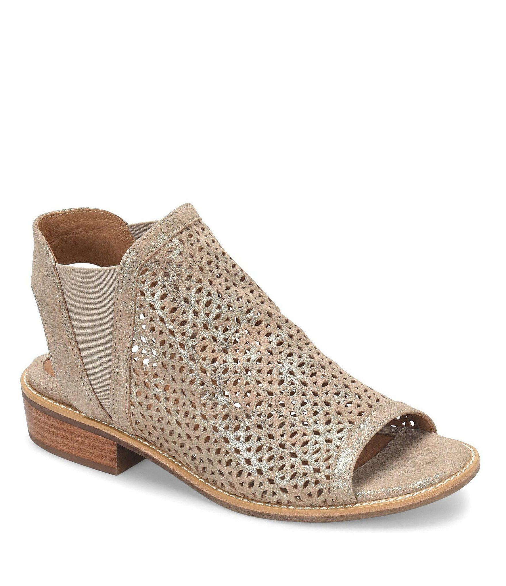 78ebe80aa7f Sofft Nalda Distressed Foil Suede Block Heel Sandals