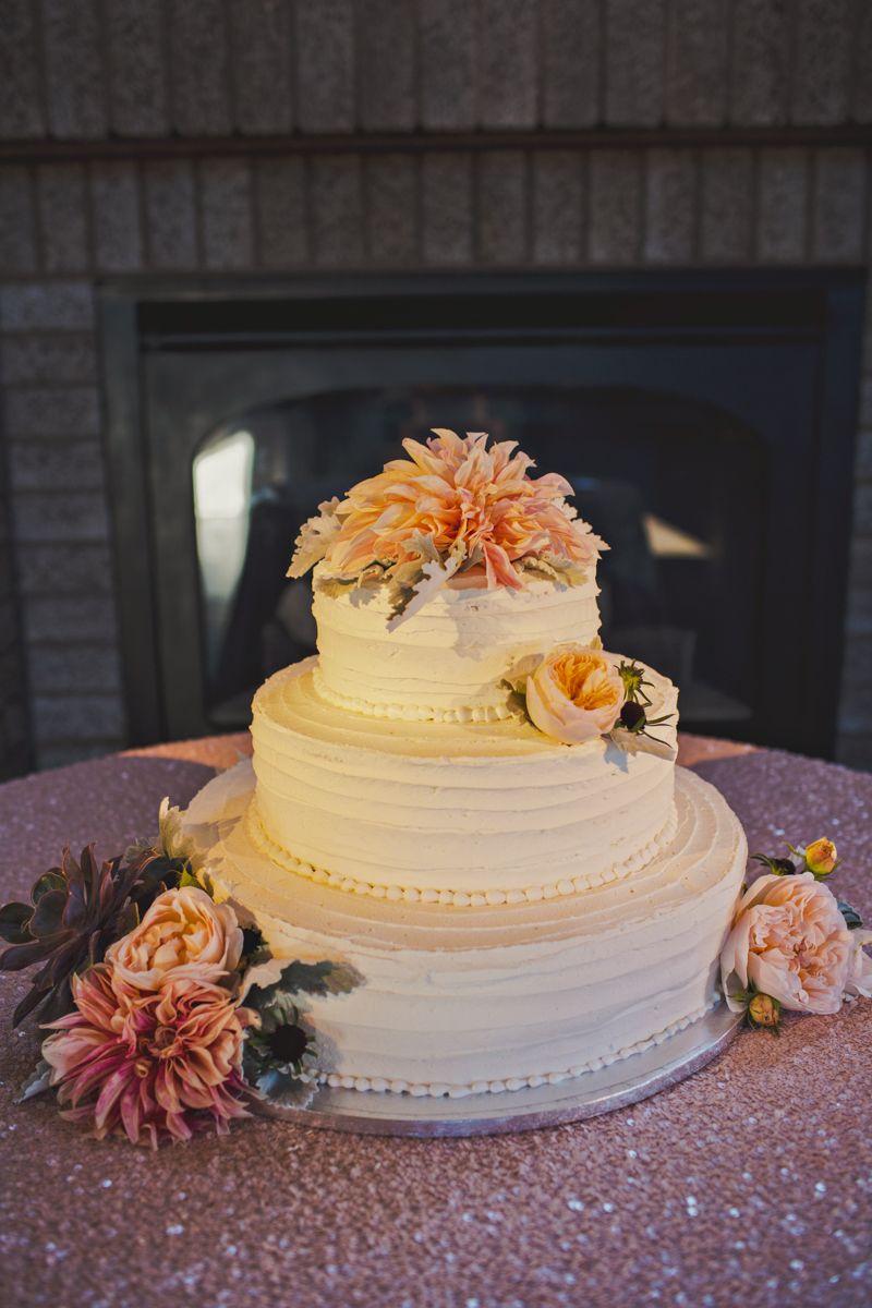 My wedding cake! Simple white with dahlias