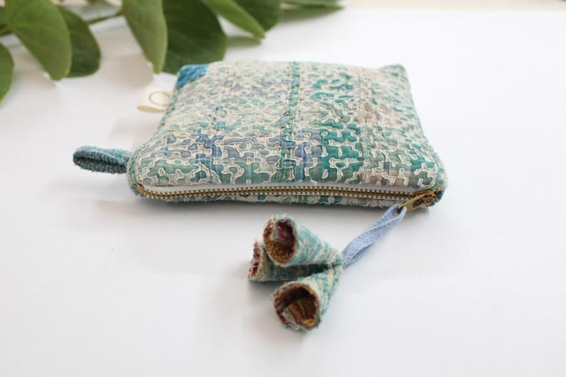 Upcycled coin pouch zero waste sustainable gift Airi-Vintage Kantha quilt pouch Boho boro small purse with metal zip and tassels