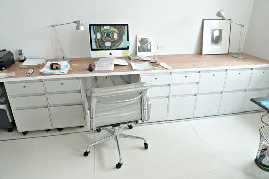 Laboratory Office Desk: Sprayed Painted Second Hand File Cabinets And Hollow  Core Doors