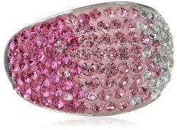 Carnevale Sterling Silver Pink Dome Swarovski Elements Ring #unusualengagementrings