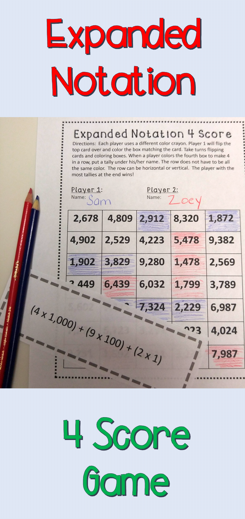 Expanded Notation 4 Score Game with Record Sheet