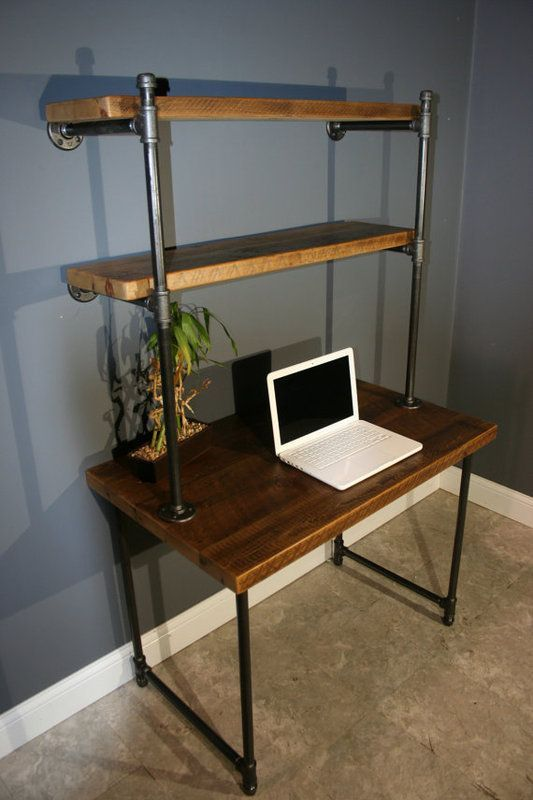 Computer Desk W/Storage Shelves   Reclaimed Wood