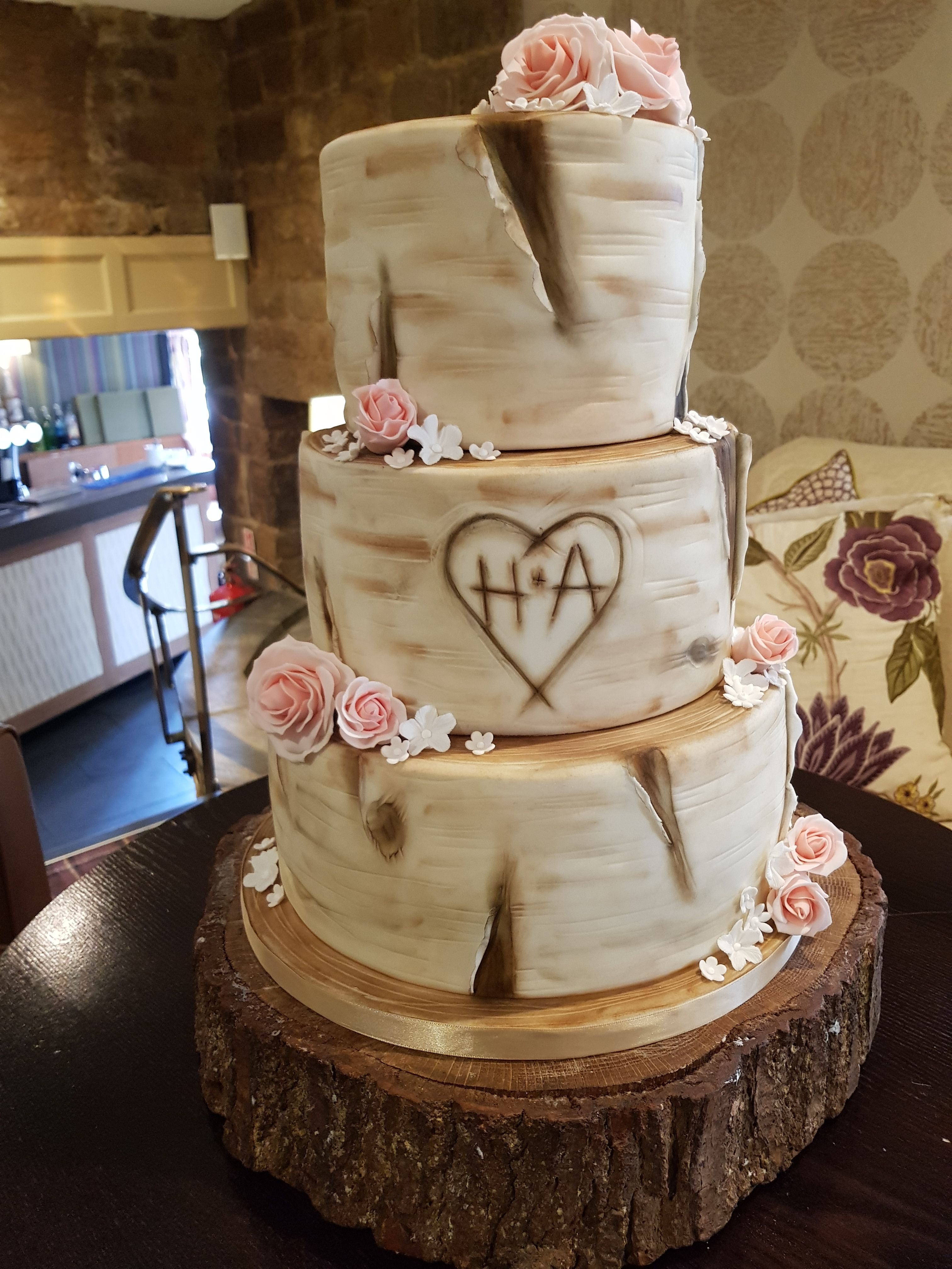 Carved with initials and added flowers in 2020 Cake
