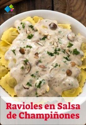Ravioles En Salsa De Champiñones Recetas Con Pasta Ravioles Receta Salsa De Champiñones Crema De Champiñones Receta