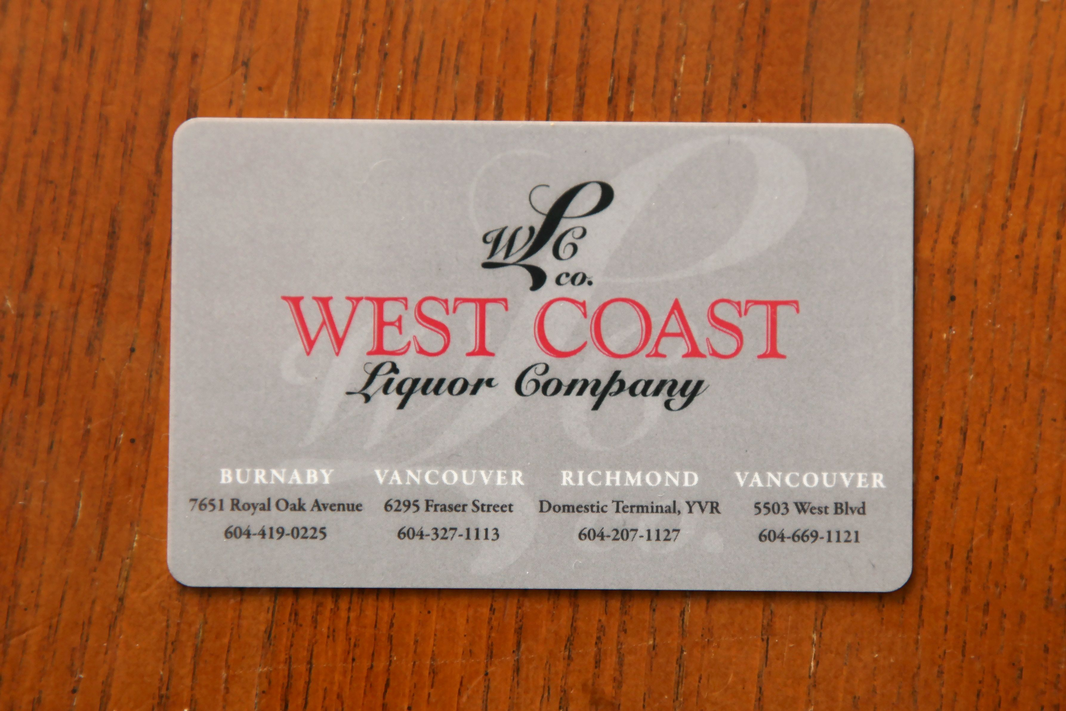Give someone a reloadable gift card from West Coast Liquor Company ...
