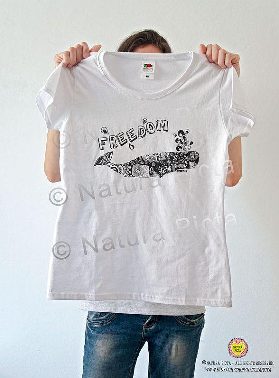 Zen doodle whale quote t-shirt-whale women by naturapicta on Etsy