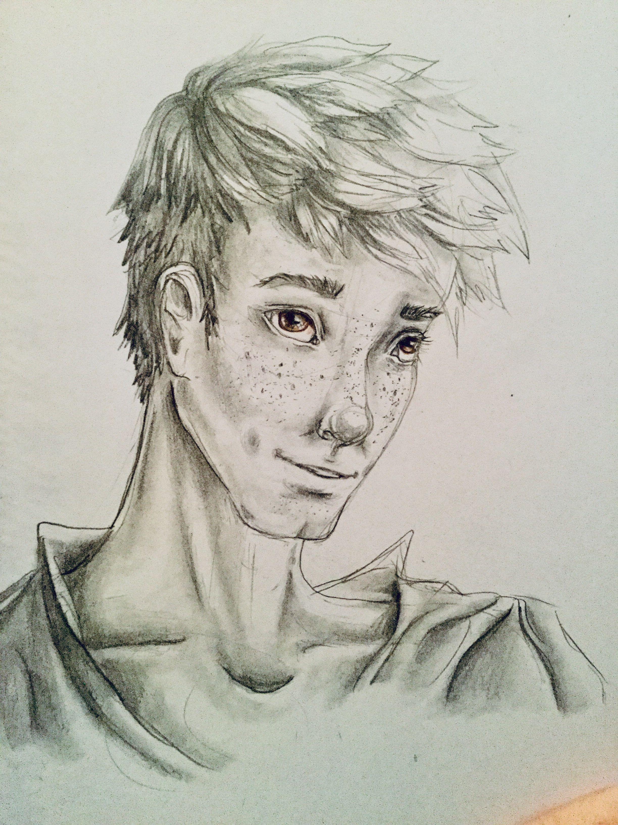 Hazel eyes ❤ ❤ teen boy male hazel brown eyes freckles face pencil art drawing