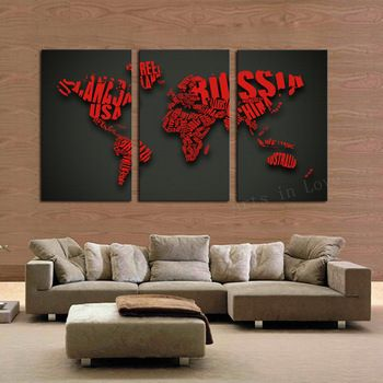 World map httpwalldecordealsproduct3 pcs large hd wall 3 pcs wall paintings large hd picture words map decorative canvas painting prints on canvas for bedroom unframed gumiabroncs Gallery
