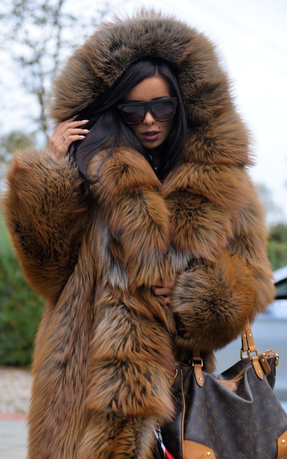 Women Real Vulpes Fox Fur Collar Rabbit Fur Liner Parka Hooded Coat Overcoat