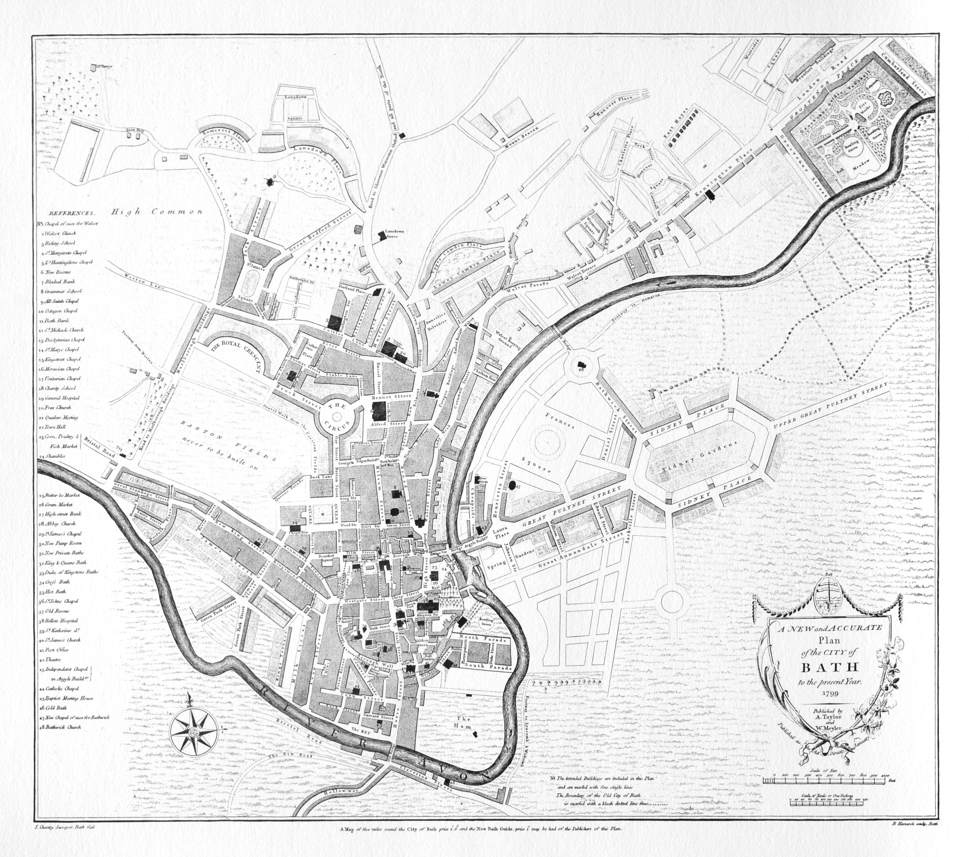 Map Of Bath England In John Wood The Younger