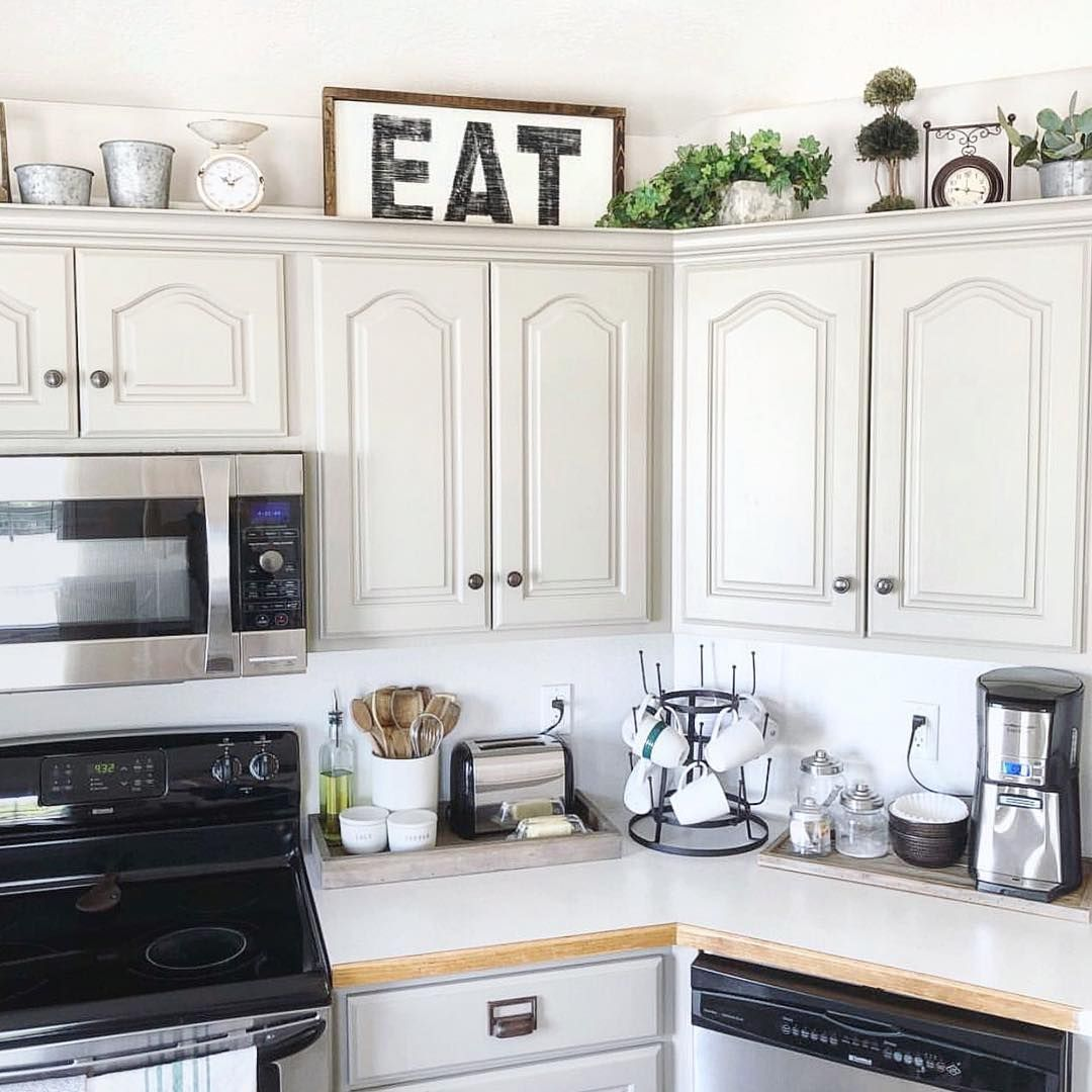 Cottage Country Corner Llc On Instagram Do You Decorate Above Your Kitchen Cab In 2020 Decorating Above Kitchen Cabinets Kitchen Decor Apartment Top Kitchen Cabinets