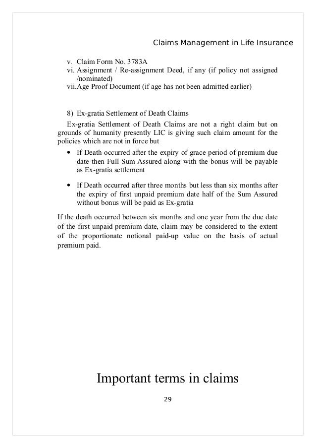 Claims Management Life Insurance Claim Form Letter For Demand
