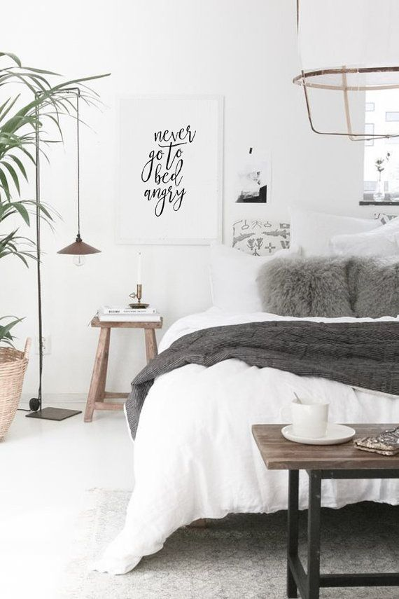 Never Go To Bed Angry Typography Print Scandinavian Wall Art Motivational Inspirational Quote Bedroom Decor Modern Home