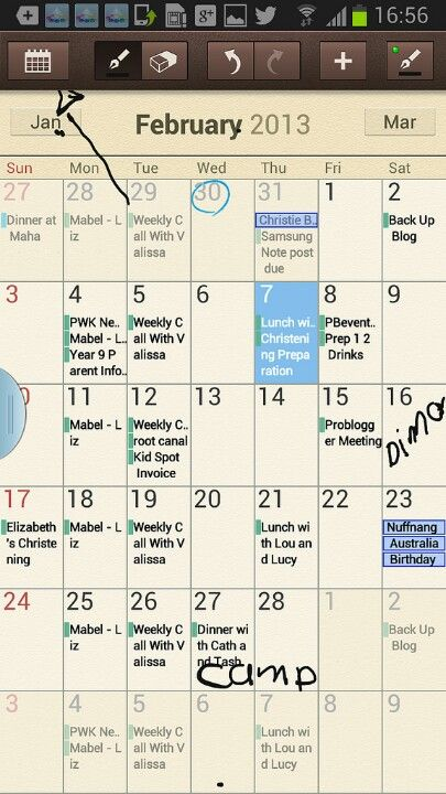 you can write on your calendar to make events stand out or to write