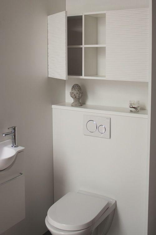 Rangement astucieux au dessus du bâti support de votre toilette suspendu. Meubles modulaires et ...