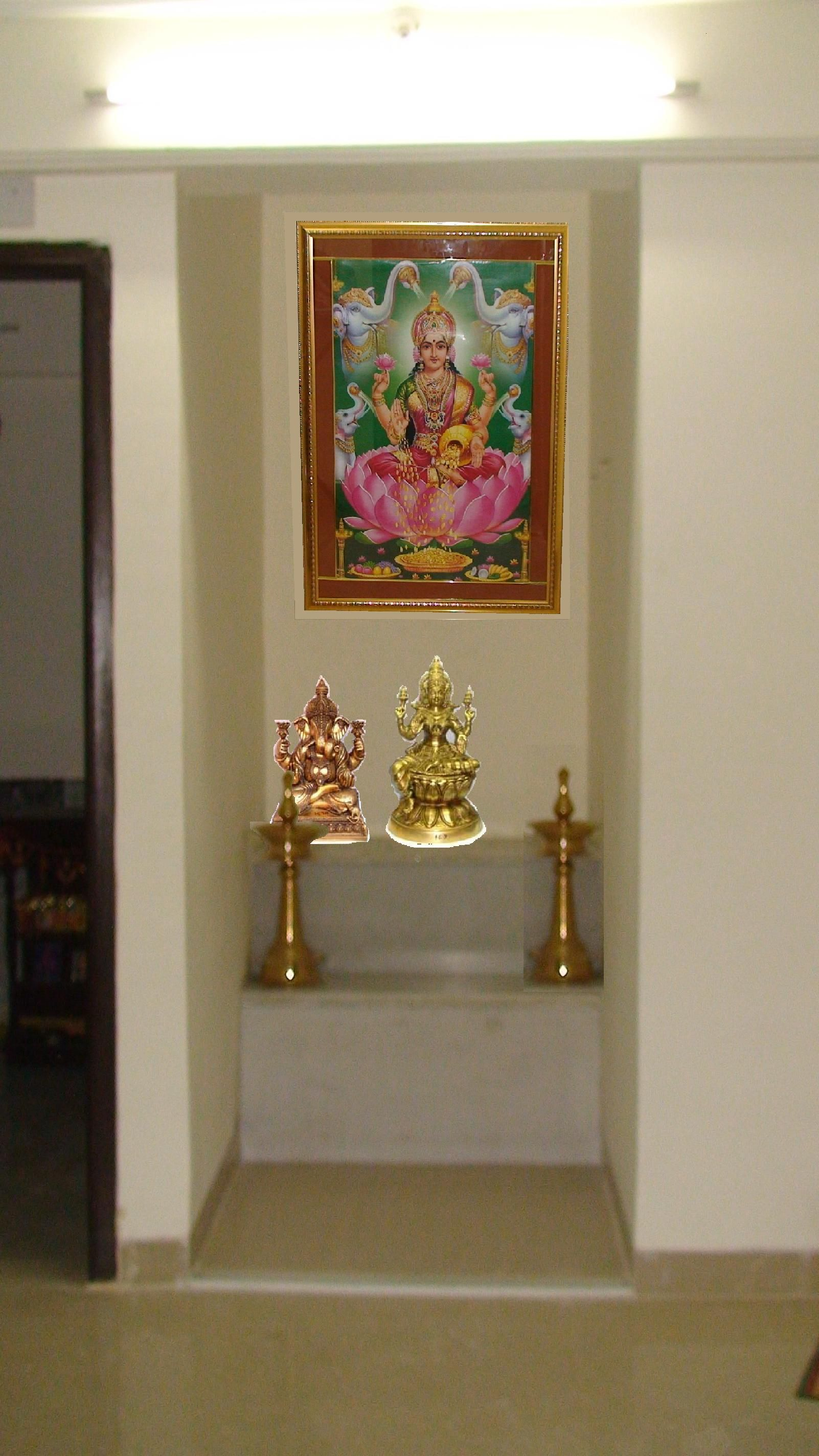 Simple pooja room design pooja space pinterest room for Simple interior decoration