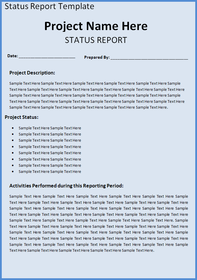 A Project Status Report Template Is A Document That Represents The