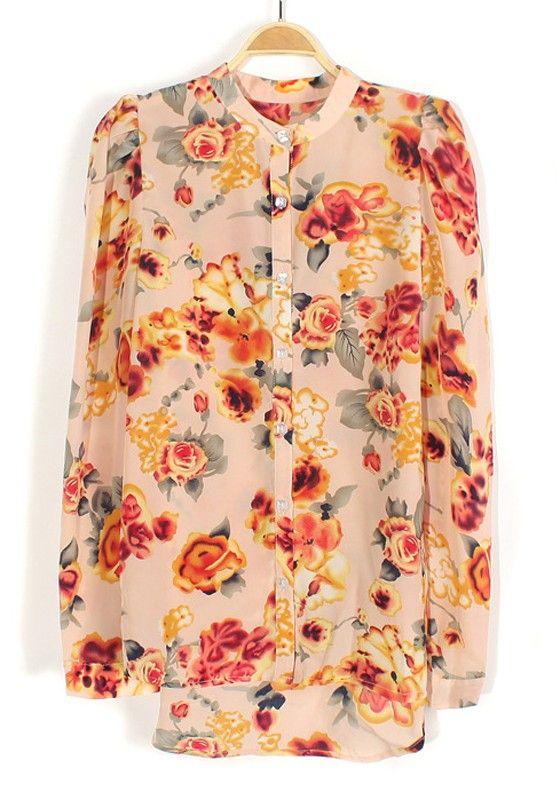 Pink Flowers Print Buttons Band Collar Chiffon Blouse