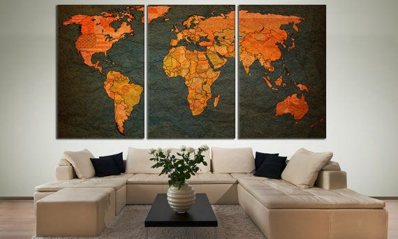 Large Wall Art World Map Canvas Print Living Room Panel Vintage Political