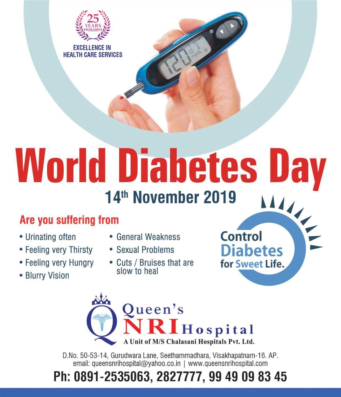 World Diabetes Day 14th November 2019 Queen's NRI