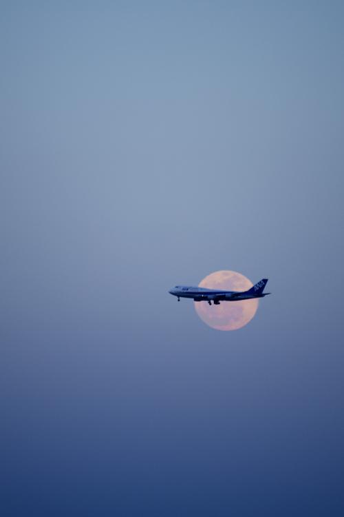 満月と飛行機[explore] | Aviation | Airplane wallpaper, Aircraft, Sky