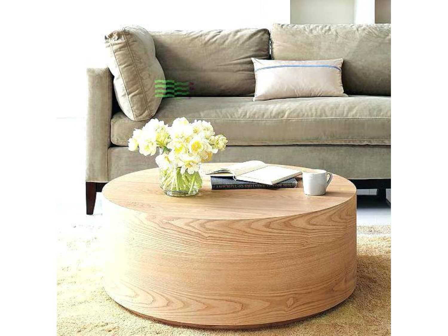 Wood Drum Style Coffee Table Apartment Therapy S Bazaar In 2020