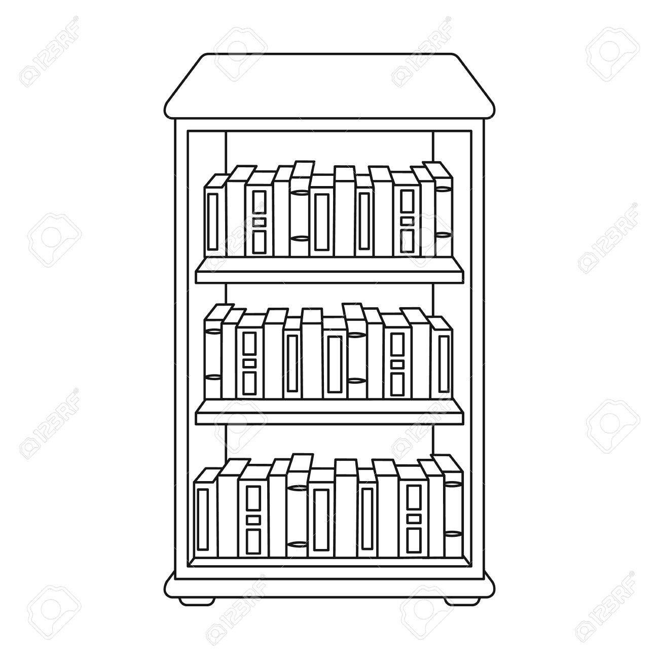 Bookcase Cartoon Black And White Clipart Black And White Black And White Books Book Clip Art