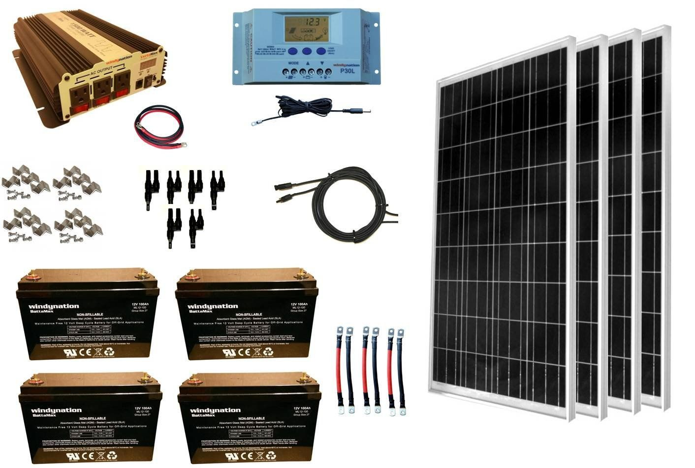 WindyNation Complete 400 Watt Solar Panel Kit