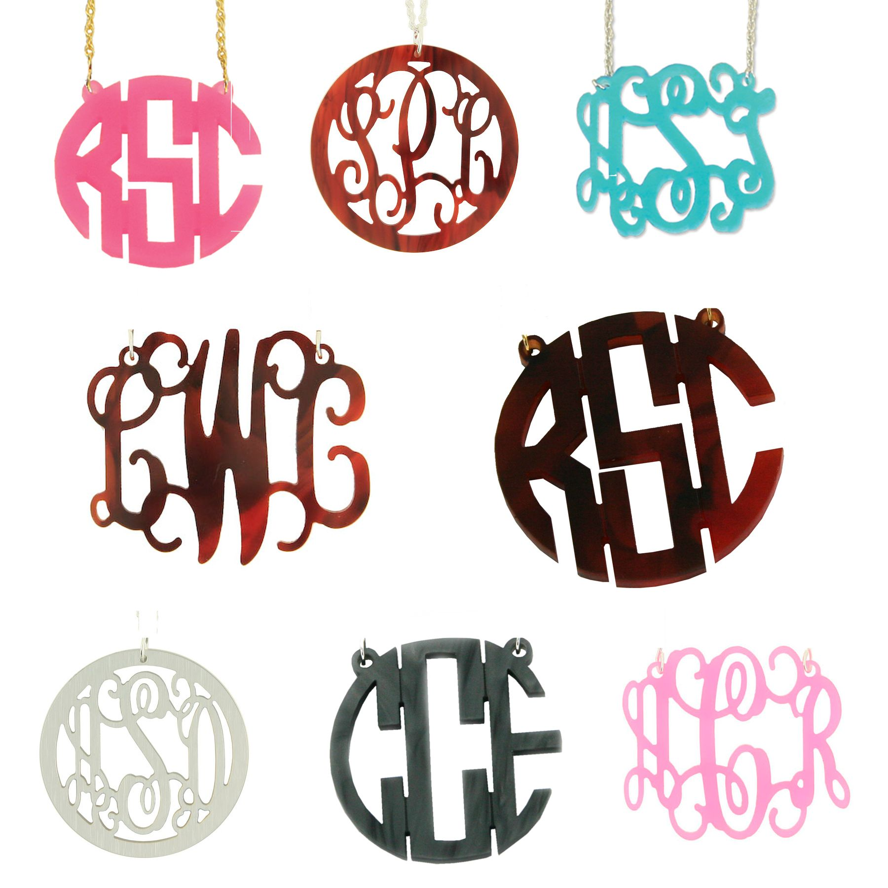 So excited about all the fun colors and styles for our new acrylic monogram necklaces!    http://www.sweetteapaperie.com/collections/jewelry-1