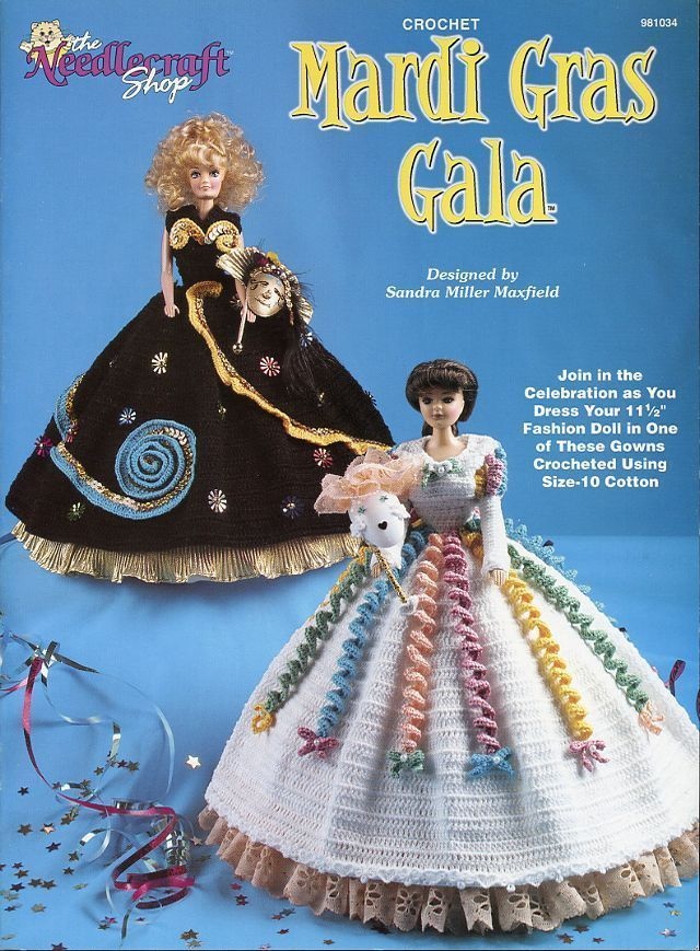 Mardi Gras Gala F Doll Fashion Doll Gowns Crochet Pattern 30 Days To Shop & Pay! picclick.com