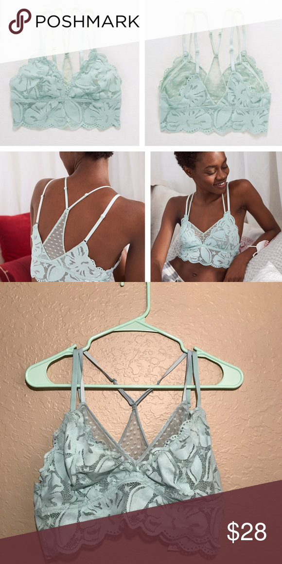 "308ba3b02abd3 Aerie Layered Racerback Lace Bralette Color is ""Dusty Sage."" Mint green  ish. Racerback straps give you extra support. A must-have for open back  tops."