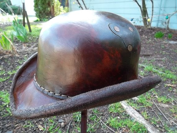 45f91223c7 I know this one is a bit out there for a gift idea but if I could see  myself trying any hat style it d be this one. Steampunk Victorian Leather  Bowler Derby ...